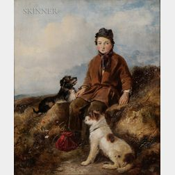 William Walker Morris (British, fl. 1850-1867)      A Rest on the Way/Boy with Two Dogs