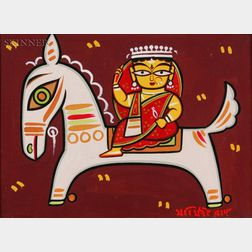 Jamini Roy (Indian, 1887-1972)    Woman on Horseback, possibly the Queen of Jhansi