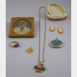 Daguerreotype Negative Portrait and a Small Group of Assorted Estate Jewelry