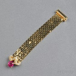18kt Gold, Ruby, and Diamond Buckle Ring, Van Cleef & Arpels