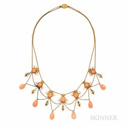 Antique Gold and Coral Festoon Necklace