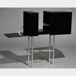 Eileen Gray Black Lacquer and Steel Beverage Bar