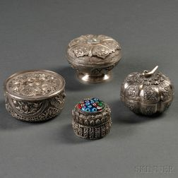 Four Asian Silver Boxes