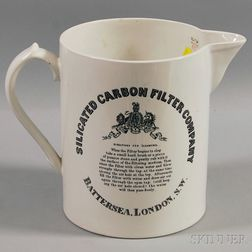 Large Late Victorian Silicated Carbon Filter Co. Ceramic Pitcher