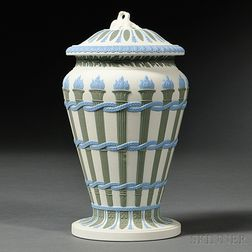 Wedgwood Three-color Jasper Torches Vase and Cover