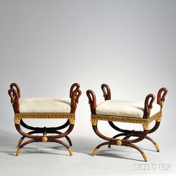 Pair of Empire-style Parcel-gilt Tabourets
