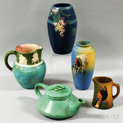 Two Pieces of Weller Pottery Dickensware, a Weller Vase, a Pisgah Pitcher, and an Art Pottery Teapot