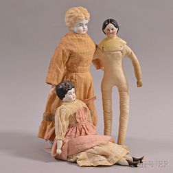 Three China Shoulder Head Dolls