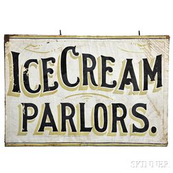 """Painted Canvas """"ICE CREAM PARLORS"""" Sign"""