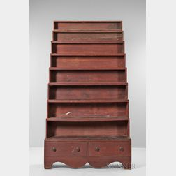 "Red-painted ""Harvard"" Stacking Bookcase"