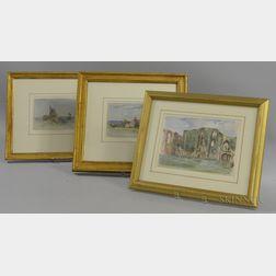 Edward Clarke Cabot (American, 1818-1901)      Three English Views: Near Hawkhurst ;  Courtyard Kennelworth Castle