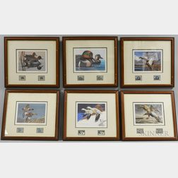 Six Framed Duck Prints with Stamps