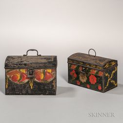 Two Painted Tin Document Boxes