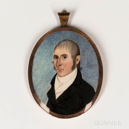 American School, Early 19th Century      Miniature Portrait of a Man in a Black Jacket