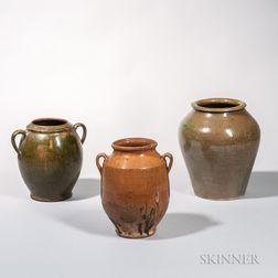 Three Glazed Redware Vessels