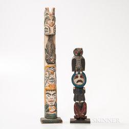 Two Northwest Coast Polychrome Wooden Model Totem Poles
