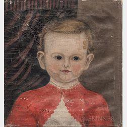 American School, 19th Century      Portrait of a Boy in a Red Sweater