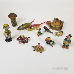 Eleven Lithographed Tin Wind-up Toys