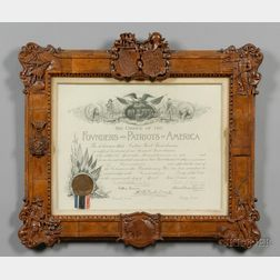 Carved Charter Oak Framed Patriotic Document