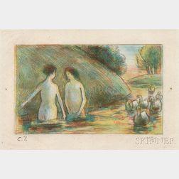 Camille Pissarro (French, 1830-1903)      Baigneuses Gardeuses D'Oies