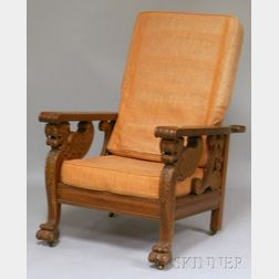 Late Victorian Carved Oak Griffin-sided Adjustable-back Morris Chair