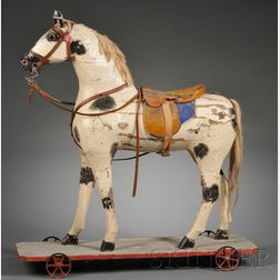 Painted Wooden Horse Pull-toy