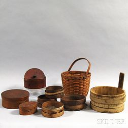 Nine Wooden Domestic Items