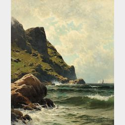 Alfred Thompson Bricher (American, 1837-1908)      Ocean Cliffs, Sunlight