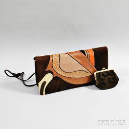 Judith Leiber Brown Suede and Snakeskin Patchwork Handbag