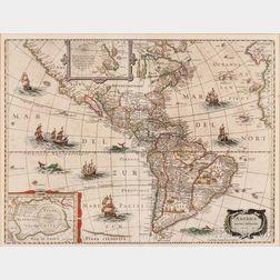 North and South America. Henricus Hondius II (1597-1651) and Jan Jansson (1588-1664) America Noviter Delineata.