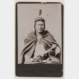 """Framed Cabinet Card Photograph of Chief """"Tommy Hawk"""" by Welch"""