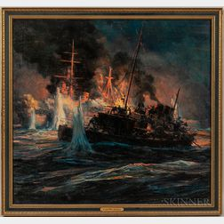 Anton Otto Fisher (New York/Germany, 1882-1962)    World War II Naval Engagement