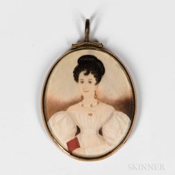 American School, Mid-19th Century      Miniature Portrait of a Woman in a White Dress