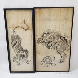 Two Large Framed Japanese Watercolors of a Tiger and a Dragon