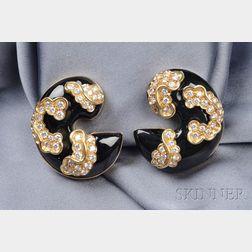 18kt Gold, Onyx, and Diamond Earclips, Marina B.