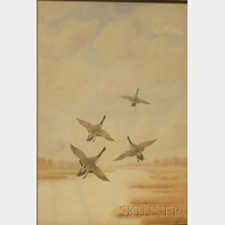 Framed Watercolor on Paper/board of Geese in Flight by Joseph Day Knap      (American, 1875-1962)