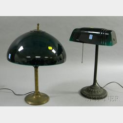 Brass Table Lamp and Desk Lamp with Green Cased Glass Shades