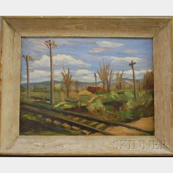 Guido R. Borghi (Swiss/American, 1903-1971)      Lot of Two Framed Landscapes:  Railroad Tracks