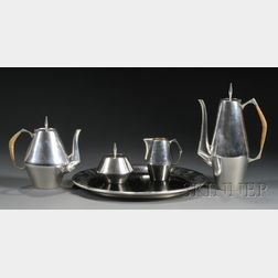 "Reed & Barton Sterling ""The Diamond"" Pattern Four-piece Tea and Coffee Set and Tray"