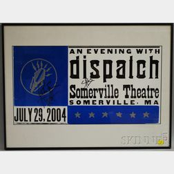 """Framed Autographed """"An Evening with dispatch"""" Concert Poster"""