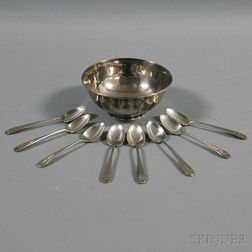 Arthur Stone Sterling Silver Side Bowl and a Set of Eight Coffee Spoons
