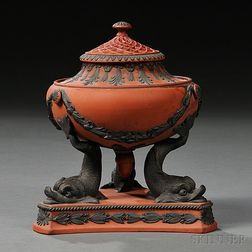 Wedgwood Rosso Antico Dolphin Incense Burner