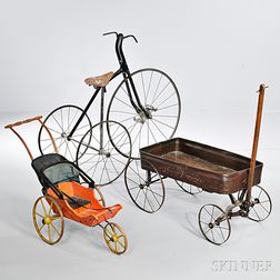 Tricycle, Tin Wagon, and Painted Doll Carriage