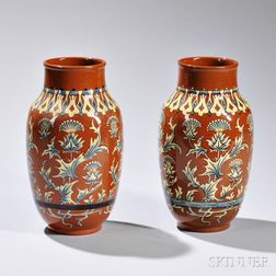 Pair of Sarreguemines Earthenware Thistle Vases