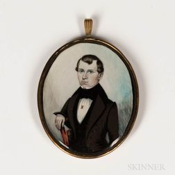American School, Mid-19th Century      Miniature Portrait of a Man Seated in a Red Chair