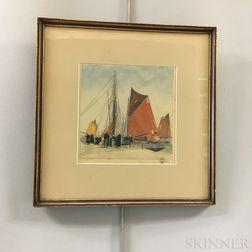 Hans Figura (New York/Austria, 1898-1978) Framed Aquatint of a Harbor