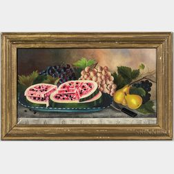 American School, 19th Century      Tabletop Still Life with Pears, Watermelon, and Grapes
