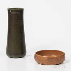 Marblehead Pottery Vase and Overbeck Pottery Bowl