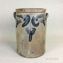 S. Bell & Son Cobalt-decorated Four-gallon Stoneware Crock