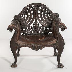 Renaissance Revival Carved Oak Armchair
